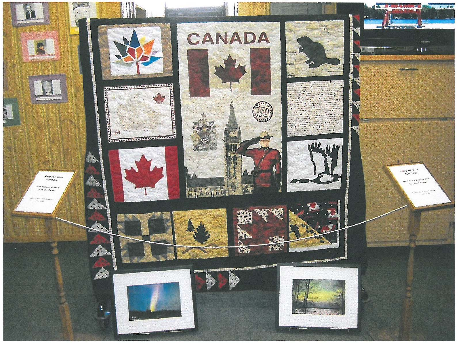 Canada 150 Raffle prizes, quilt and framed pictures